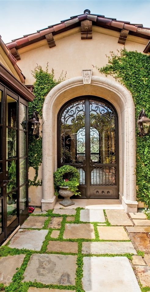 Tuscan, Mediterranean , Iron Entry Door