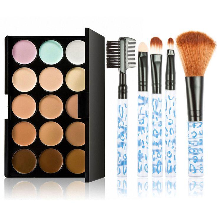 Горячая распродажа макияж установить 5 шт. щетку + 15 цвета контур палитра крем для лица макияж косметика корректоркупить в магазине Five Star Outlet наAliExpress