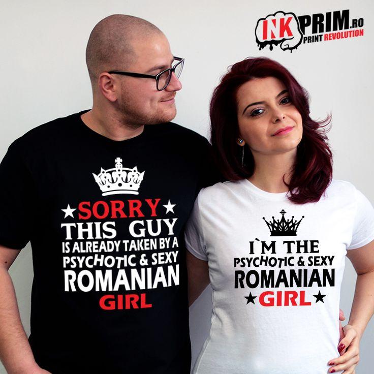 Set Tricouri Personalizate, pentru cupluri cu simtul umorului Psychotic and Sexy Romanian Girl