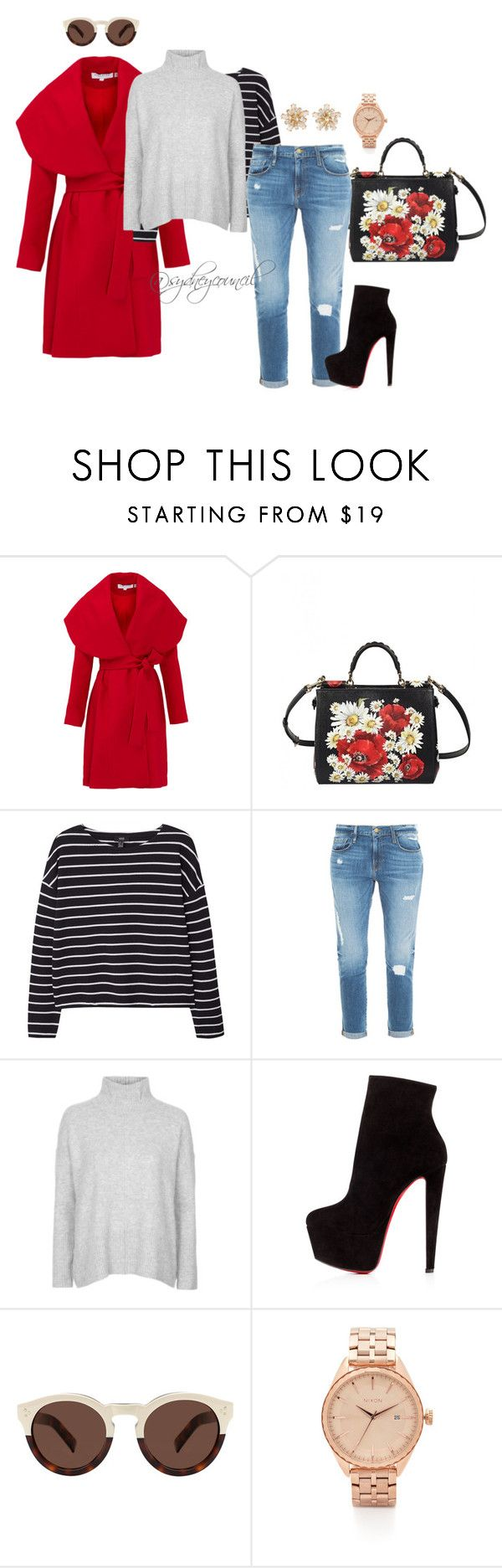 """""""Print and Color"""" by sydneycouncil on Polyvore featuring Keepsake the Label, Dolce&Gabbana, MANGO, Frame Denim, Topshop, Christian Louboutin, Illesteva, Nixon, women's clothing and women"""