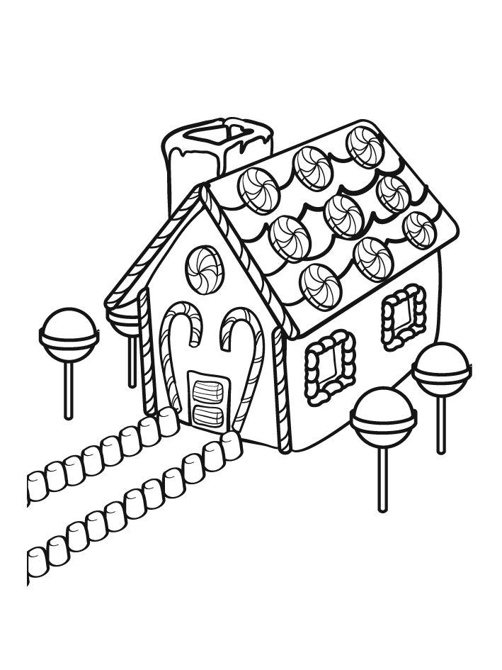 Christmas Coloring Sheets Gingerbread House Coloring Pages