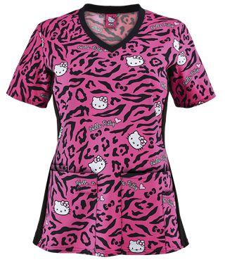 Cherokee Tooniforms Hello Kitty Wild Print Scrub Top Style # CK681HKU  #uniformadvantage #uascrubs #helloitty #scrubs