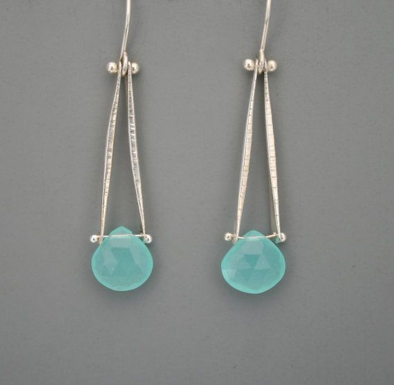 Sterling silver and aqua chalcedony drop earrings by rachelwilder.  Also come in labradorite.  : )