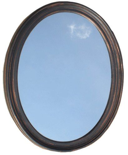 Decorative oval framed wall mirror oil rubbed bronze for Fancy oval mirror