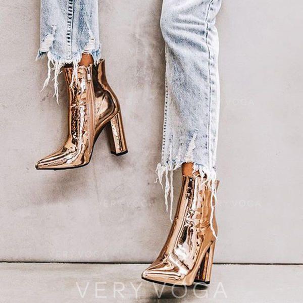Femmes Cuir verni Talon bottier Escarpins Bout fermé Bottines avec Zip chaussures (088182663)