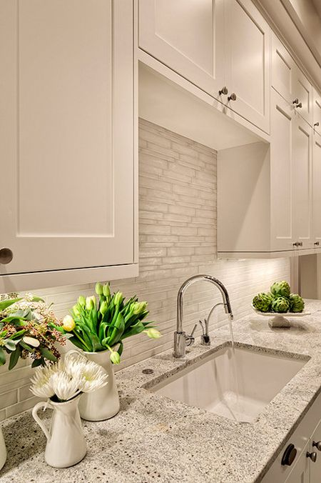 The Grayish White Tile Backsplash Design Is Gorgeous And Gives A Really Clean Look Brought