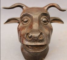 bi002834 Folk Chinese Bronze Copper Animals Year Zodiac Bull Ox Head Statue Figurine