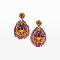 Ranjana Khan Teardrop Earring - Ranjana Khan's stunning statement pieces are handcrafted using rare and unusual materials like vintage beads and coins, semi precious stones, and feathers�just to name a few. These dazzling earrings feature a vibrant color scheme and a kaleidoscope of materials that showcase the designer's playful multi-media aesthetic.