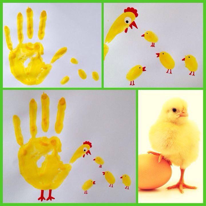 Handabdruck Huhn und Küken                                                                                                                                                     Mehr