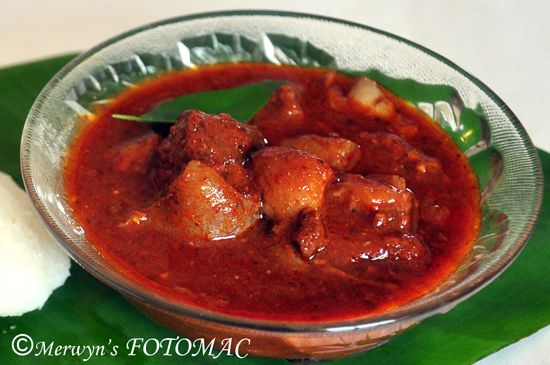 "The authentic Pork Vindaloo is not very fiery. In fact it is mildly spicy & tangy. It is the Kashmiri Chillies which gives the Vindaloo a lovely rich red color. The name 'Vindaloo' is derived from the Portuguese dish ""Carne de Vinha d' Alhos"" which is a dish of meat, usually pork with wine &Read More"