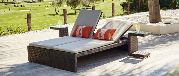 the unique encore rattan sofa and double sun lounger combo is new to our range of moda designed outdoor furniture for this clever space saving set