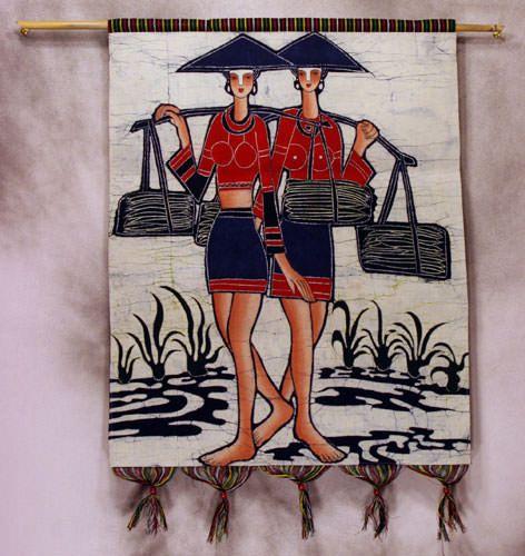 部落族裔女性多彩蜡染壁挂艺术