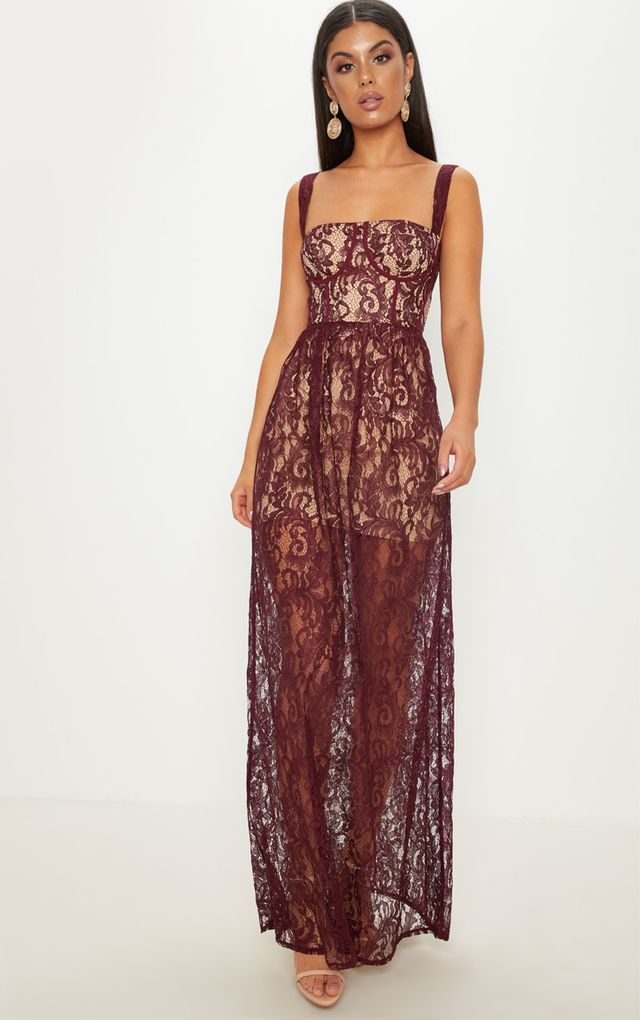 53bac9caf1 Burgundy Lace Cup Detail Floaty Maxi Dress | prettylittlething in ...