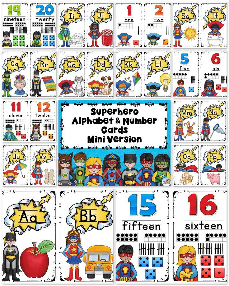 Free set of Superhero themed alphabet posters and number posters. This is a mini set of posters with a cute superhero theme decor!