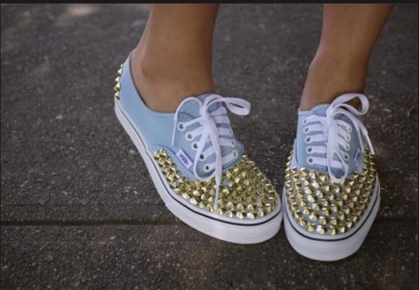 shoes, studs, blue vans, vans, vans off the wall, pyramid studs