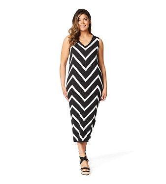 Chevron Stripe Jersey Dress