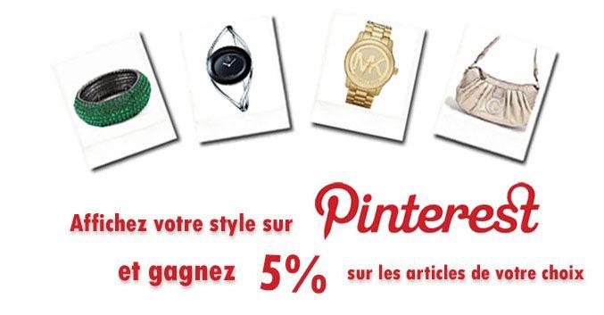 Une réduction de 5% sur vos articles favoris ! Découvrez comment obtenir votre code promo Chic Time ici :  http://www.chic-time.com/content/56-codepromo-chictime-pinterest