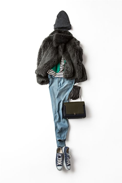 Kyoko Kikuchi's Closet , fur jacket,pale blue skinny denim,black converse,striped t-shirt,black square bag,knit cap