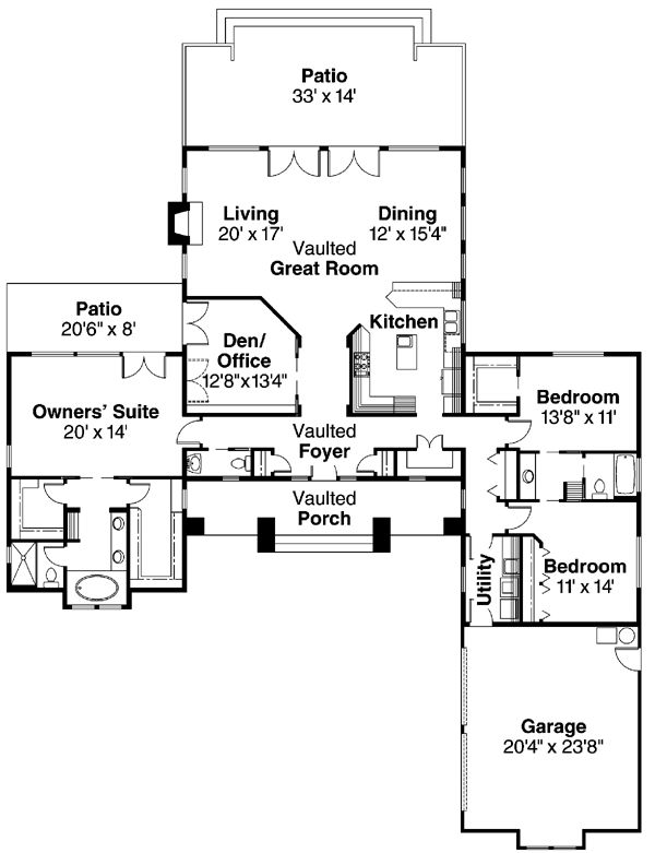1-story house plan. Would convert the office/den to a