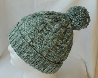 Men's / Women's Hat. Sage Green Batik, Hand Knitted, Cable, Bobble Hat. To Fit Average Size Head. Warm And Comfortable Hat. - Edit Listing - Etsy
