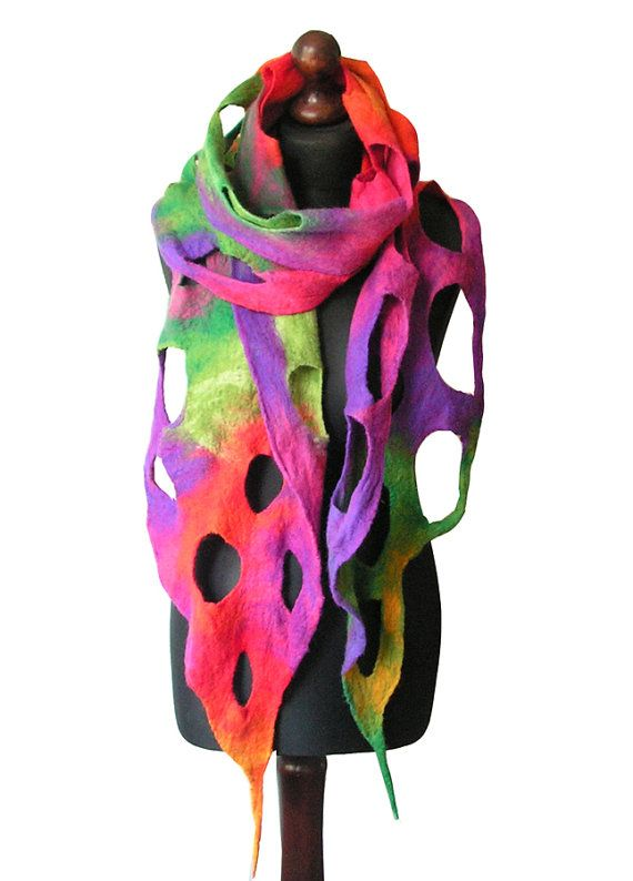 Felted scarf made from finest Australian merino wool. Lightweight and soft to the touch. Colors: multicolor. Size: length: 230cm (90,55); with
