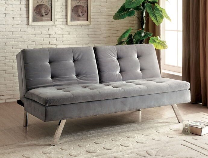 """Valier collection contemporary style gray flannelette fabric upholstered futon sofa bed with chrome legs.  Converts to a split back sofa , and all folds flat to convert into a bed.  Sofa measures 69 1/2"""" x 35 1/2"""" x 33 1/2"""". When laying flat measures 69 1/2"""" x 41 1/2"""" x 18""""H.  Some assembly required."""