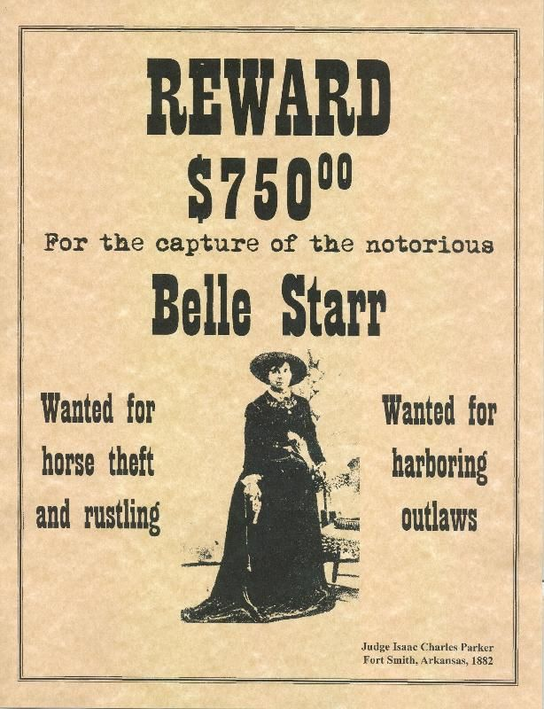 Old West Outlaw Posters | Belle Starr Old West Wanted Poster
