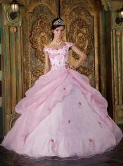 Vestido de baile-de-rosa fora do ombro Andar de comprimento Organza apliques Quinceanera