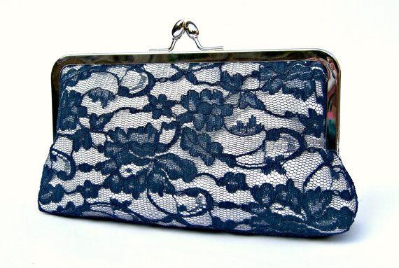 Lace bridal clutch bag, something blue navy wedding clutch, personalized bridesmaids clutch, evening clutch, clutch purse, custom clutch, uk