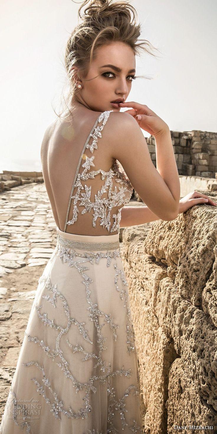 danny mizrachi 2018 bridal sleeveless deep v neck full embellishment sexy champagne color a  line wedding dress open scoop back (20) bv -- Dany Mizrachi 2018 Wedding Dresses
