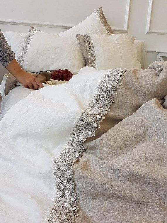 Linen Duvet Cover With Lace Heavier Natural Flax And Etsy Linen Duvet Covers Linen Duvet White Linen Duvet Covers