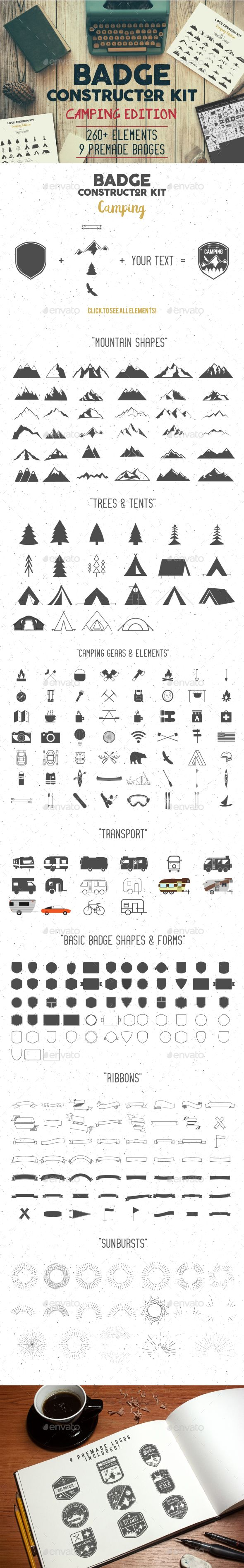 Badge Constructor Kit - Camping Edition . Download here: http://graphicriver.net/item/badge-constructor-kit-camping-edition/14731626?ref=ksioks