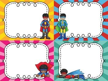Superhero Name Tags for Grades 3 - 5 Editable in Power Point