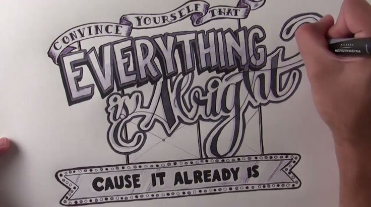 """Everything is alright"" timelapse handlettering video with Pete Yorn music"