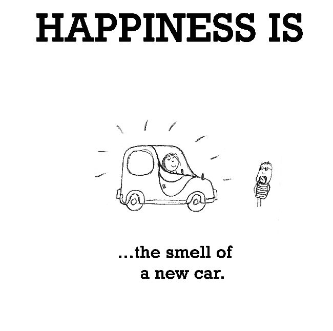 Happiness is the smell of a new car.