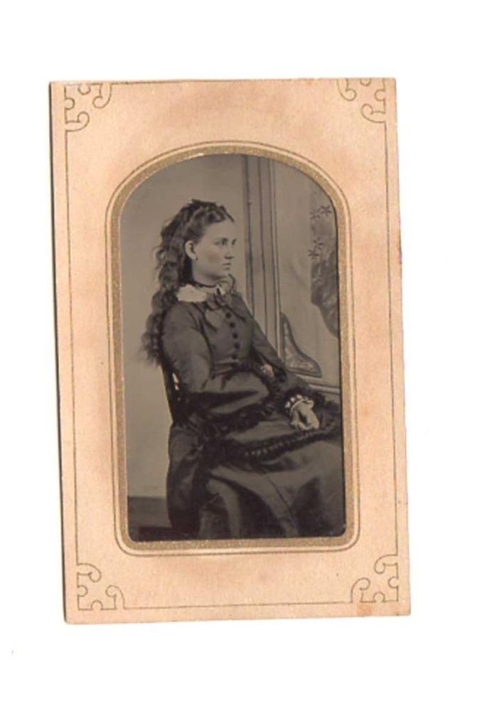 Very Beautiful Woman with Long Hair, Elegant Victorian Fashions, C1870 Tintype