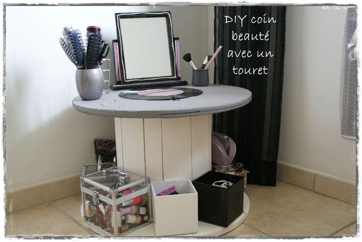 coin beaut avec un touret touret bobine cable stool pinterest coins deco and diy and. Black Bedroom Furniture Sets. Home Design Ideas
