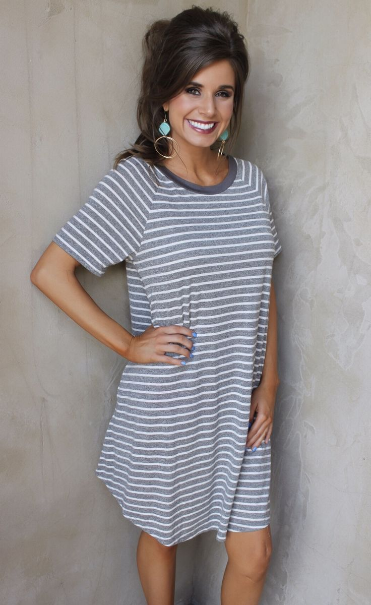 Hold the Line T-Shirt Dress - Grey and White