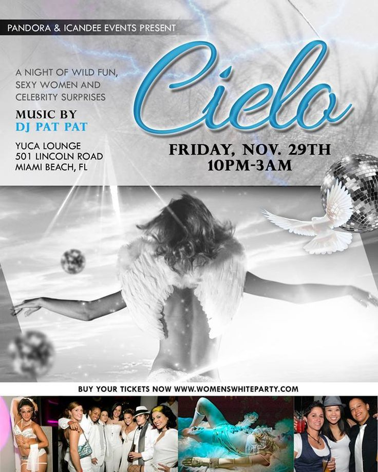 http://www.womenswhiteparty.com friday event Cielo!