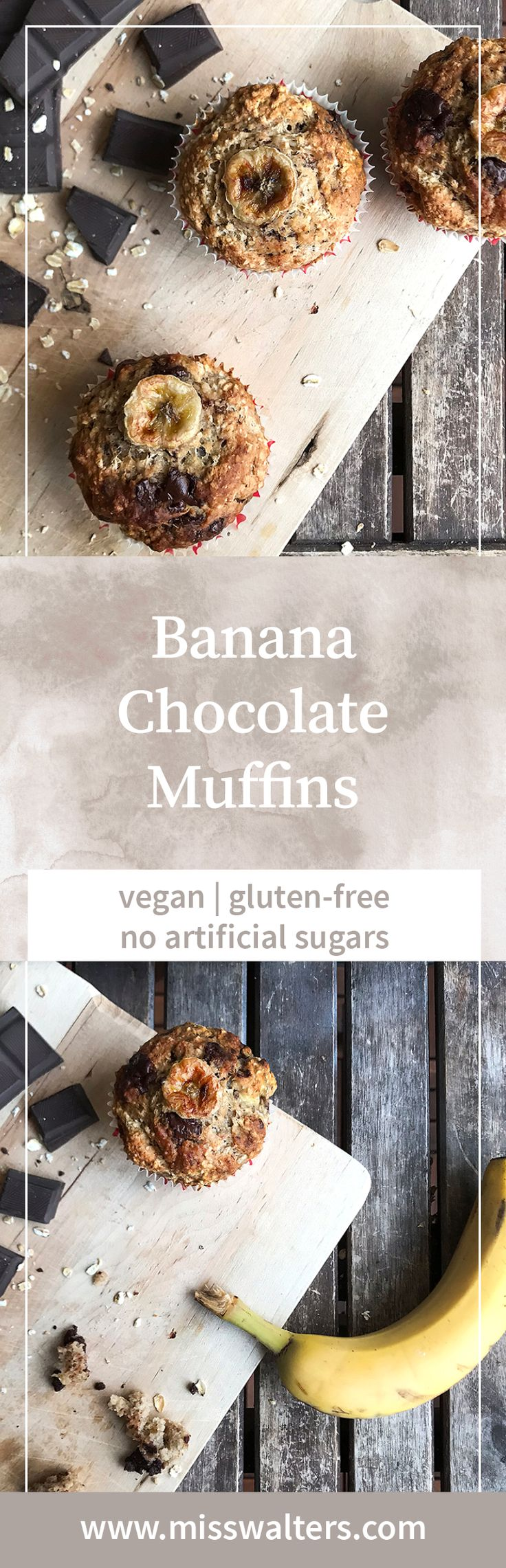 A party classic: These deliciously moist Banana Chocolate Muffins are vegan and super easy to bake.