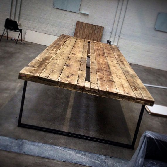 Reclaimed Industrial Chic 16-20 Seater Conference Office Table Each table is handmade for each and every customer It has a strong steel base frame to keep