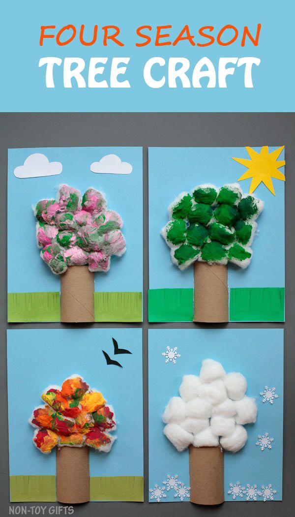 Artisanat quatre arbres de saison pour les enfants.  Utilisez du rouleau de papier et des boules de coton pour créer un artisanat facile.  Célébrez les saisons avec cet artisanat amusant pour les enfants d'âge préscolaire, les jardins d'enfants et les enfants plus âgés.  Printemps, été, automne et hiver.  |  Aux cadeaux non-jouets
