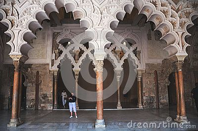 Decorated arcs at the Aljaferia Palace in Saragossa, Spain Editorial Photography