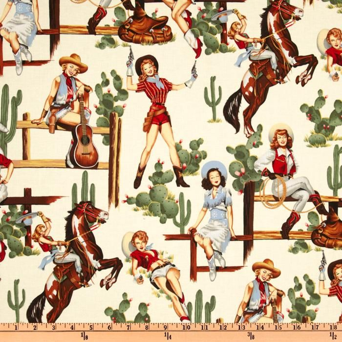 Pin Ups From The Hip Natural from @fabricdotcom  Designed by Alexander Henry, this cotton print fabric features pin-up girls in an allover design and is perfect for quilting, apparel and home décor accents. Colors include sage, brown, gold, red, and grey on an ivory-white background.
