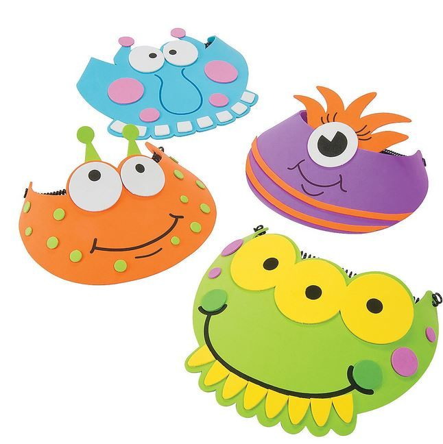 Monster Party Foam Visors .  These silly foam Monster Visors are a monstrously fun way to scare your fellow monster party guests! They come ready to wear and fully assembled. They makes a fun Halloween costume accessory, too!  Price is per (1) one visor; assorted designs; 24.1 cm x 17.8 cm with a 12.7 cm stretchy plastic coil.