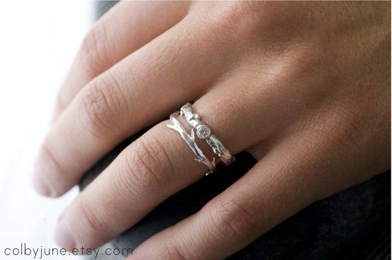 Moissanite Branch and Twig Ring Set  Stacking by ColbyJuneJewelry