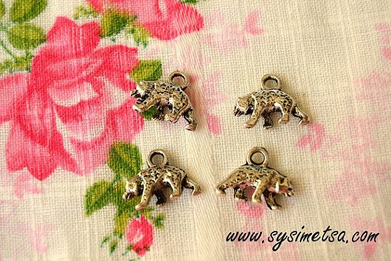 Miniature Bear Charms - Antique Silver Color Bear Animal Pendants 4pcs - 16x12 mm - Nickel Free