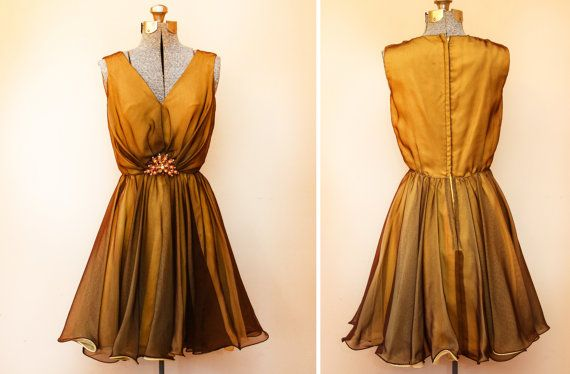 Vintage 1960s 1970s Golden Amber Yellow Vintage Dress with Brooch - Prom or Bridesmaid - Retro - Miss Eliette California D4 on Etsy, $80.00