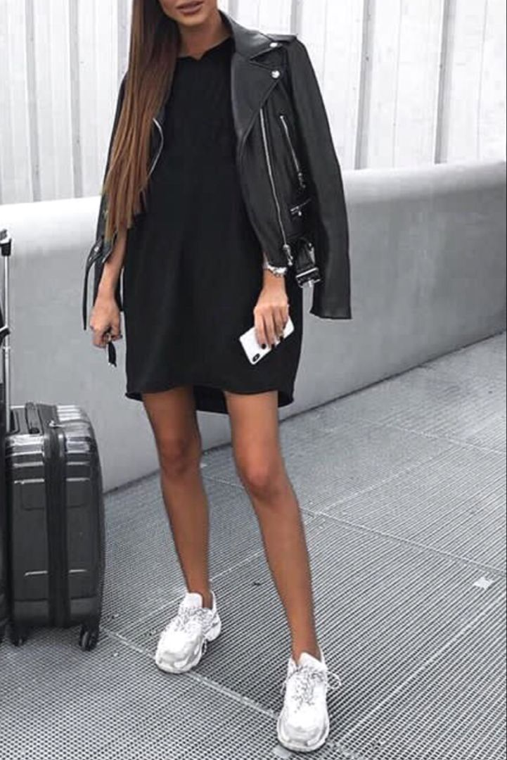 mode femme tendance tenue casual avec une robe tshirt un. Black Bedroom Furniture Sets. Home Design Ideas