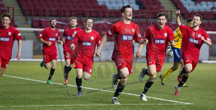 Queen's Park's David Galt leads the celebration so this wonder goal during the SPFL League One play-off game between Clyde and Queen's Park.